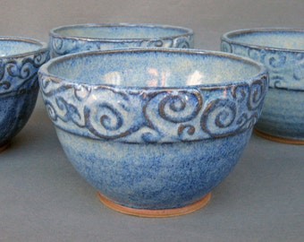 Soup Cereal Bowls Set of 2 Blue Speckle Swirly Rim