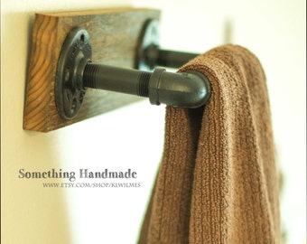 barn wood  hand towel bar rustic100 year old wood and black iron pipe