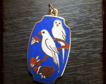 Antique Large French exotic Birds Parrot enameled Medal - Vintage pendant from France for Jewelry projects