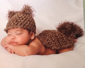 Newborn Baby SQUIRREL Hat and Cape Photo Prop- Made to order