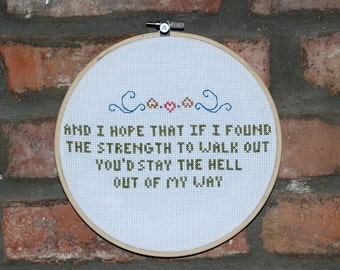 """Mountain Goats Cross Stitch Lyrics with Hoop- """"No Children"""" from Tellahassee"""