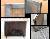 Made to Fit Your Fireplace Hand Forged Iron Simple Wide Border Standing Fireplace Screen by VinTin (Item # F-201)