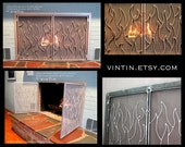 Made to Fit Your Fireplace Hand Forged Iron Flame Design Fireplace Screen with Doors by VinTin (Item # F-202)