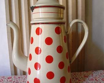 Enameled  European COFFEE BIGGIN Red Polka DOTS