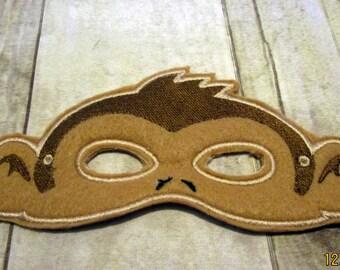 Felt Monkey Mask, Machine Stitched, Pretend Play, Child Mask, Ready To Ship