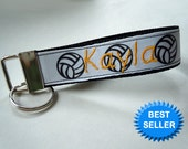 Volleyball Keychain Wristlet or Bag Tag PERSONALIZED with your name and favorite sport ribbon