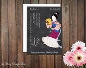 Bridal Shower Invitation - Princess Mulan Silhouette on Chalkboard Style Background