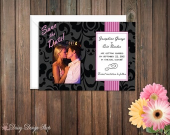 Save the Date Photo Card - Black Damask with Colored Stripe and Engagement Photo