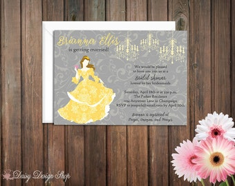 Bridal Shower Invitation - Belle Princess Silhouette with Chandeliers and Damask - Beauty and the Beast