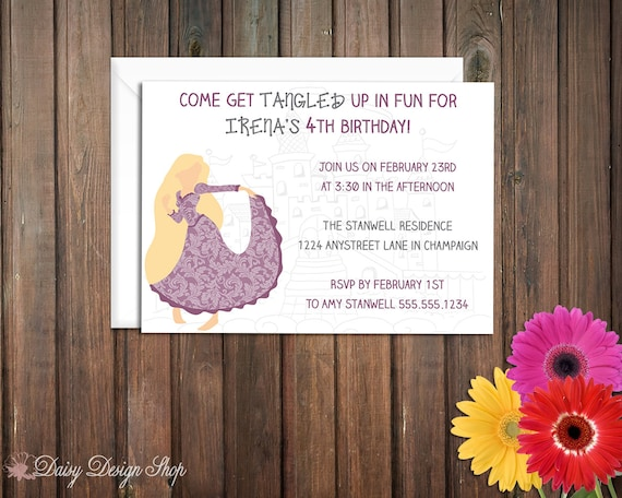 Birthday Party Invitations - Princess Rapunzel Silhouette - Tangled Inspired - Set of 20 with Envelopes