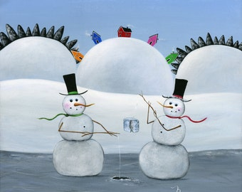 Hilly Hole in the Ice Giclée Archival Print - Paper or Canvas - Winter Folk Art Painting Two Snowmen Ice Fishing on the lake - Various Sizes