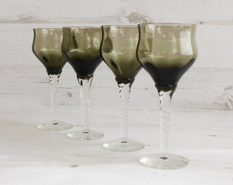 Vintage Drinking Glasses - Smokey grey Tall Glassware Kitchenware Barware Collection