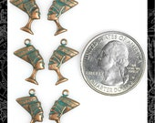 Copper Plated Brass with Aqua Wash Egyptian Nefertiti Charms Set of Six, Three Sets of Two * V-C58
