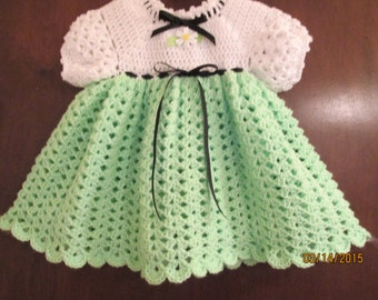green and white toddler crochet dress