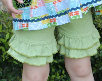 light green heather knit double ruffle shorts shorties bloomers sizes 12m - 12 girls
