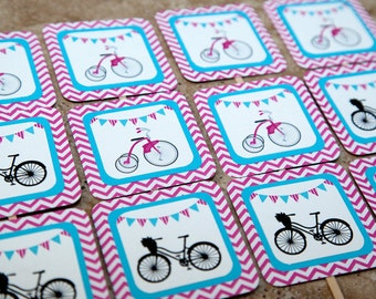 Vintage bicycle theme cupcake toppers-Pink Chevron and turquoise (Quantity 12)