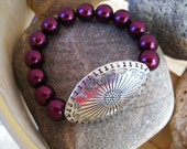 Burgundy Glass Pearl Beaded Stretch Bracelet with Decorative Antique Silver Oval Bead