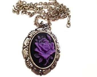 Gothic Purple rose cameo necklace