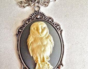 Barn Owl Cameo Necklace