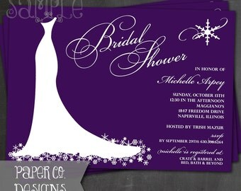 Printable Snowflake Bridal Shower Invite - Digital File ONLY