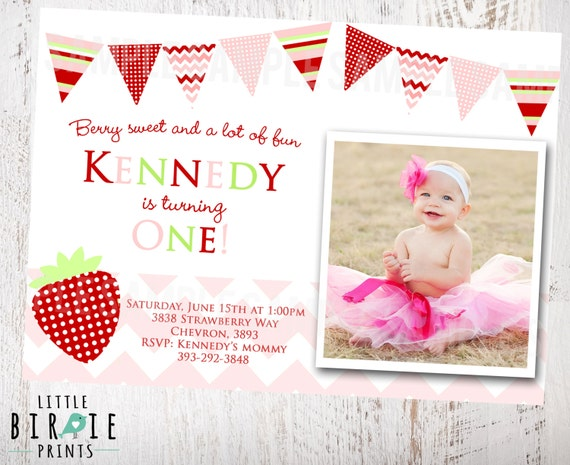 Items Similar To Strawberry Invitation Birthday Party Printable