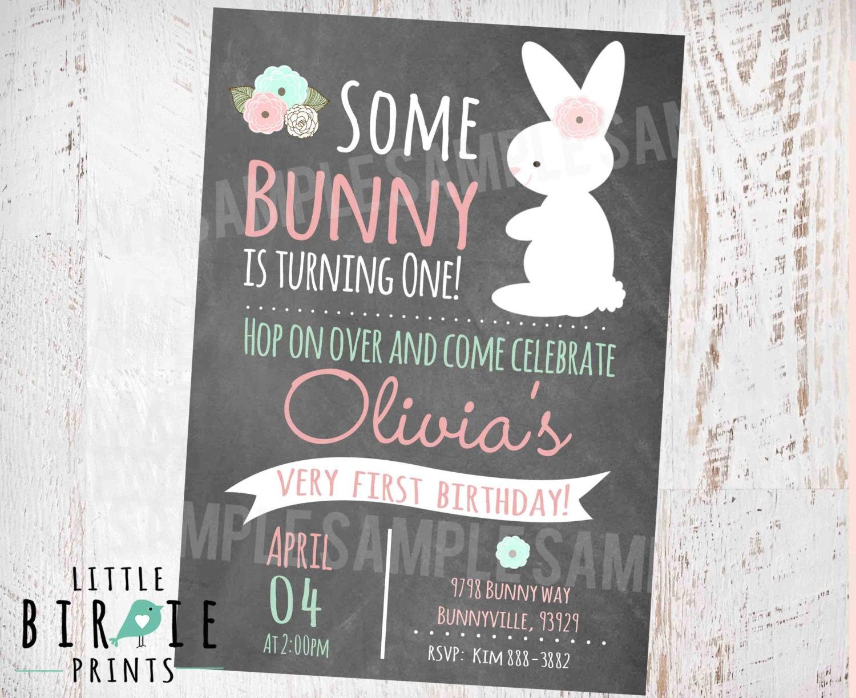 Bunny Birthday Invitation Chalkboard First Birthday Party
