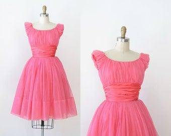 1950s Hot Pink Party Dress / 50s Chiffon Dress