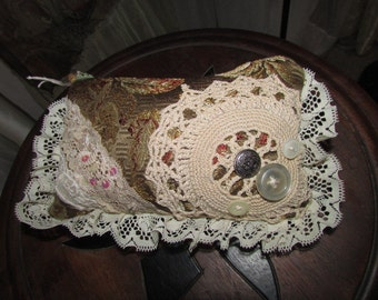 Romantic Coin Purse - handheld clutch shabby bohemian ruffle lace doily buttons embellished, creme zip pouch, lace cosmetic bag, make up bag