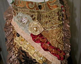 Bohemian Gypsy Purse, handmade fancy baroque style, beads buttons lace embellished, ooak unique SMALL