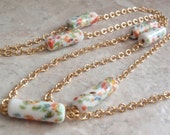 Millefiori Bead Necklace Tube Beads 40 Inch Gold Tone Chain Vintage 121214RC