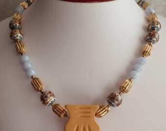 Cloisonne Beads Unfinished Necklace Gold Tone Findings Chalcedony Colored Glass Beads Floral Dress Clip Brooch Display Vintage 091114SB