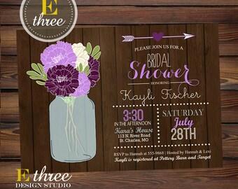 Rustic Purple Bridal Shower Invitations - Flowers, Wood and Mason Jar Shower Invite - Lavender Wedding Shower #1072