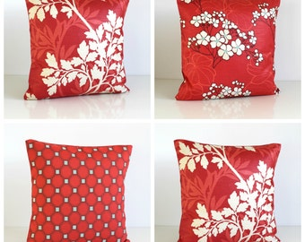 Pillow Cover, 16 Inch Cushion Cover, 16x16 Pillow Sham - Honeycomb Red