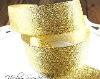 Gold Metallic Ribbon 1/2 inch - Hairbow Supplies, Etc