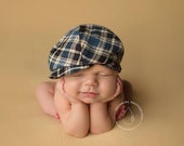 newborn boy plaid fabric hat, cap (Amos) - photography prop - plaid, cream, blue, navy, black