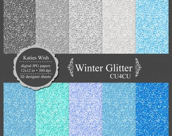 Winter Blues Glitter digital paper kit, small commercial use ok, instant download file for digital scrapbooking, invites, graphic design