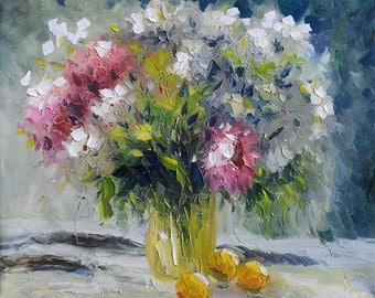 ORIGINAL Oil Painting on canvas Palette Knife Colorful Flowers Textured vase white pink Blue lemon yellow spring modern gift art Marchella