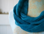 hand dyed linen gauze circle cowl infinity scarf in indigo blue