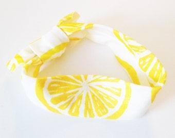 Knotted Headband - Lemons - Infant Headband Jersey Headband Organic Headband Organic Baby Headband Baby Headwrap Knot Headband