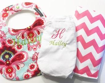 Baby Girl Gift Set - French Wallpaper - Monogrammed Bib, Monogrammed Burp Cloth, Monogrammed Bloomers - Etsykids Team - Baby Shower Gift