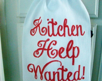 Kitchen Help Wanted tea towel- Red and white kitchen towel -Flour sack dish towel- super cute