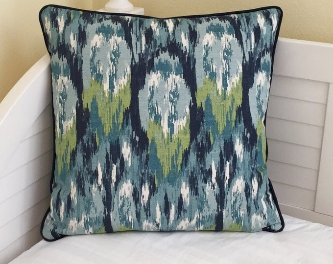 Duralee Aegean Watery Ikat (Both Sides) Designer Pillow Cover with or without Piping - Square, Euro and Lumbar Pillow Cover