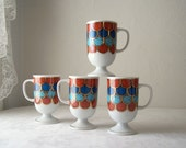 holt howard mid century fish scale cups - set of four mugs - blue - rust - white - coffee cup - 1960s - 1970s