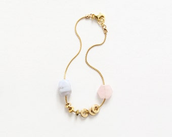 Pastel and Gold Treasure Bracelet - Geometric Natural Stone Jewelry - Pale Pink Lavender - Gift for Her