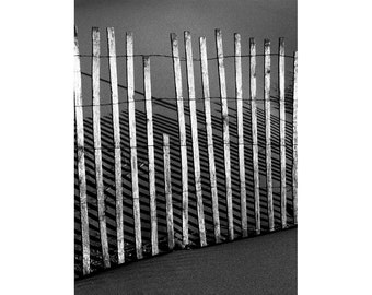 Broken Sand Fence at Ottawa Beach Michigan State Park on Lake Michigan by Holland No.7313 A Black and White Fine Art Abstract Photograph
