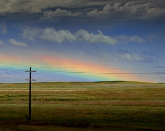 Rainbow after the Storm on the Prairie along the Roadway with Utility Pole in North Dakota No.143 - A Fine Art Nature Landscape Photograph