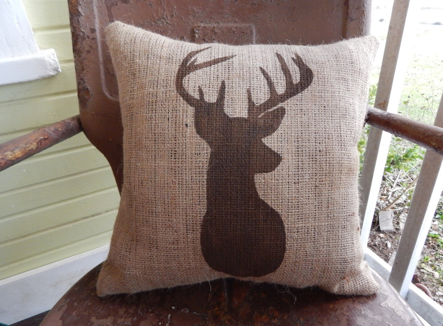 Burlap Throw Pillows Etsy : Burlap Pillow Rustic Country DEER Throw Accent by TakeFlyteFarm