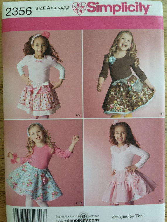 Simplicity Pattern 2356 Childs Skirts Slips And