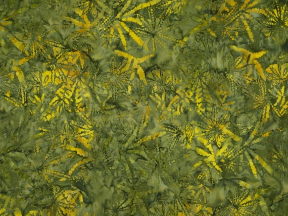 Shades of Green Cannabis Print Cotton Indonesian Batik Fabric in Green --One Yard