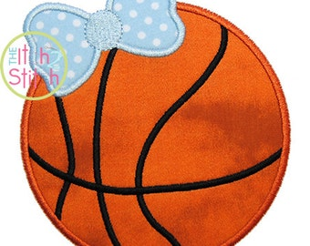 Basketball Bow Applique Design For Machine Embroidery Hoop Size(s) 4x4, 5x7 & 6x10 (Font NOT included)  INSTANT DOWNLOAD now available